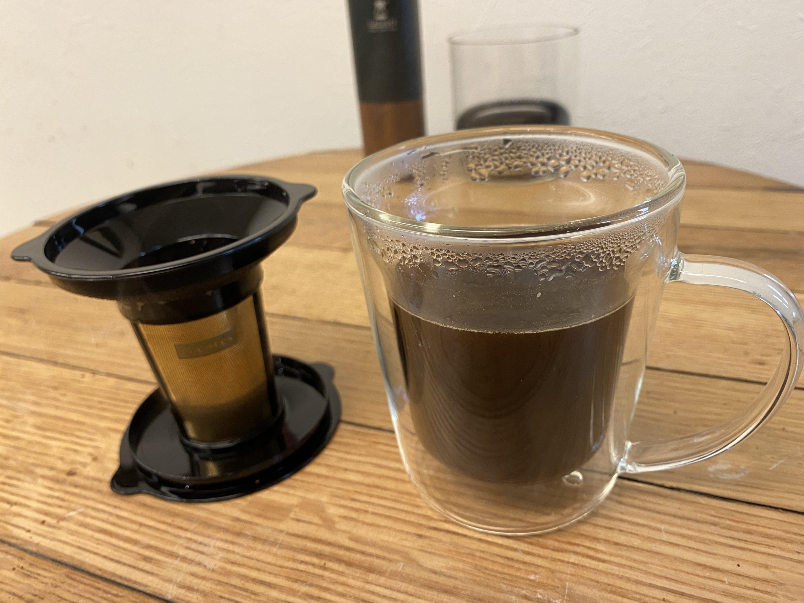 自宅で1杯分!ペーパーレスで節約エコな美味しいコーヒー!ゴールドフィルターダブルウォールマグ C412